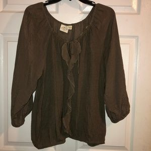 St Johns Bay Brown tie front 3/4 sleeves Size XL